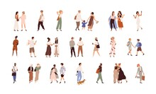 People Walking On City Street Set. Happy Couples, Friends, Families, Kids Meeting, Talking And Strolling Outdoors. Modern Casual Citizens Life. Flat Vector Illustration Isolated On White Background