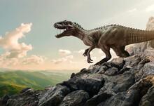 Dinosaur Tyrannosaurus Rex On Top Of Mountain Rock