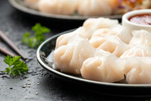 Traditional Asian Prawn Or Shrimp Dumplings Hakau, Ha Kauw Or Har Gow. Served With Cabbage, Carrot Salad And Soy And Sweet Chilli Sauce