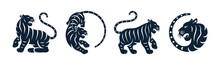 Tiger Black Silhouette Isolated Happy Chinese New Year Animals Set. Vector Black Tigers Eastern Zodiac Symbols, Lunar Calendar Mascots. Spring Festival Wild Striped Cats With Long Tail, Wildlife Fauna