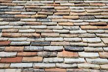 Close Up Old Background Tiled Roof Of A House, Europe
