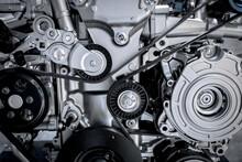Close Up Of The Mechanics Of A Car Engine.