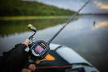 Close Up Fishing Objekt Background. Big Game Fishing Reel.