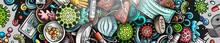 Coronavirus Hand Drawn Doodle Banner. Cartoon Vector Detailed Flyer.