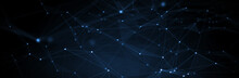 Abstract Futuristic - Technology With Polygonal Shapes On Dark Blue Background. Design Digital Technology Concept. 3d Illustration.