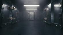 Secret Room In An Underground Bunker. Cells Behind Heavy Steel Doors 3D Illustration