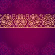 Seamless Vintage Pattern On A Purple Background In The Vector. Background With Place For Your Inscription In Oriental Style With Lace Decoration.