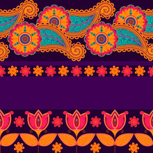 Seamless Vector Pattern Based On Traditional Oriental Element Paisley, Indian Cucumber, Buta. Bright Tulips On A Purple Background. Floral Background For Textile, Fabric, Wallpaper, Wrapping Paper.