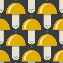 Pattern 0183 - Yellow Mushrooms Seamless Pattern, Wallpaper, Background, Fabric Design