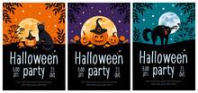 Halloween Party Flyer Set. Bright Vector Illustration. Pumpkin Jack-o-lantern, Black Cat, Witch Hat, Lollipop, Moon. For Advertising Banner, Poster, Flyer.