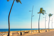 Wall Of Beautiful Oceanic Avenue In Salvador, Bahia Bordering The Sea In The Afternoon