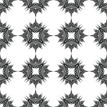Seamless Ornament In The Form Of A Patterned Grid In Black And White Tones For Printing On Fabric, Ceramics, Stained-glass Windows And For Decorating Interior Backgrounds, Postcards, Banners, Covers