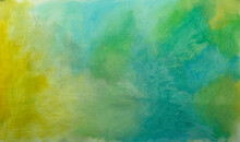 Beautiful Delicate Background Painting On Canvas. YELLOW GREEN BLUE HANDMADE BLURBACK ON CANVAS