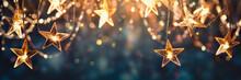 Gold Star Light Hanging On Dark Background