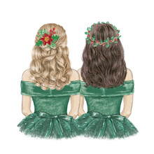 Two Girls Best Friends Ready For Christmas, Hand Drawn Illustration
