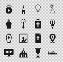 Set Hearse Car, Coffin With Cross, Lily Flower, Christian On Chain, Tie, Funeral Urn, And Icon. Vector