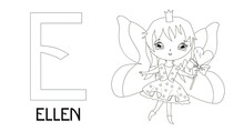 Princesses With Names, Alphabet Letters For Coloring. Name Ellen.