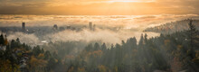 Portland Downtown Misty Rolling Fog And Autumn Foliage In High Resolution Panorama