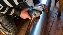 Installation Of A Pipe For A Flue From Stainless Steel, A Pipe With A Diameter Of Two Hundred Millimeters.