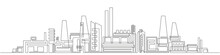 Industrial Complex With Pipes.City Factory.One Line Drawing.Buildings Architecture. Vector, Illustration.