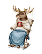 Watercolor Christmas vintage man moose in sweater clothes and plaid holding holiday hot drink in rocking chair isolated on white background. Hand drawn illustration sketch
