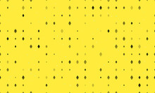 Seamless Background Pattern Of Evenly Spaced Black Ethereum Symbols Of Different Sizes And Opacity. Vector Illustration On Yellow Background With Stars