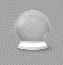 Christmas Crystal Snow Ball, Winter In Glass Ball.