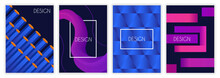 Abstract Covers Set. Modern Posters With Gradient Geometric Shapes And Inscriptions. Design Elements For Social Networks And Advertising. Cartoon Flat Vector Collection Isolated On White Background