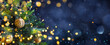 canvas print picture - Christmas Tree In Blue Night - Golden Balls On Fir Branches With Defocused Lights In Abstract Background