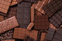 Milk And Dark Chocolate Bar, Dessert Food Background.