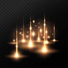Golden Special Effect. Magical Sparkling Radiance