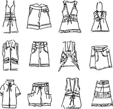 A Set Of Fashion Production Rough Sketches For The Latest Spring Summer, Ladies' Casual Wear, Woven And Knitted Top And Bottom, Skirt Pants, Short Sleeve Jacket And Vest ,front View, Flat Vector.