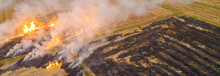 Rice Farm Burn Fire After Harvest Cause Of Air Pollution Agricultural Industry
