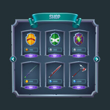 Rpg Game Shop Menu Panel With Medieval Weapon, Swords, Axe And Shields In Metal Frames. Cartoon Vector Fantasy Adventure Graphic Design Elements, Ui Or Gui Warrior Weapon Items For Sale With Price