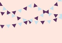 Pastel Party Flag Garland. Bunting For Birthday And Fair. Colorful Triangle Flag For Carnival. Bright Bunting Hanging On A String For Festive. Illustration For Celebration.
