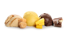 Delicious Ice Cream Balls With Mango, Chocolate And Caramel On White Background