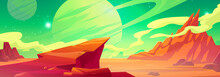 Mars Landscape, Alien Planet Background, Red Desert Surface With Mountains, Saturn And Stars Shine On Green Sky. Martian Extraterrestrial Computer Game Scenery Backdrop, Cartoon Vector Illustration