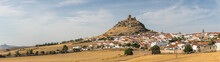 Amazing Extreme Panoramic View At The Bélmez Medieval Castle, As It Sits On Top Of A High Limestone Rocky Outcrop, Surround Landscape And Belméz Village
