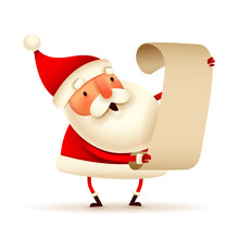 Christmas Character - Santa Claus Checking His List On White Background. Isolated.