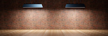 Three Dimensional Render Of Two Light Fixtures Illuminating Empty Room With Brick Wall