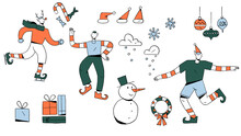 Elves, Snowman, And Other Christmas Related Icons And Hand-drawn Festive Illustrations