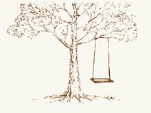 Vector Sketch. Swing On Old Oak Tree