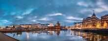 Helsinki, Finland. Panoramic View Of Pier, Embankment On Kanavaranta Street, Uspenski Cathedral And Pohjoisranta Street In Evening Illuminations