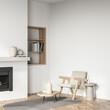 Leinwandbild Motiv Light living room interior with armchair and fireplace, mockup