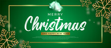 Modern Merry Christmas Banner With Square Frame On Green Background