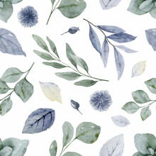 Watercolor Vector Seamless Pattern In Soft Bluish Green Shades.