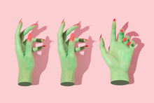 Halloween Creative Pattern With Green Witch Hands With Bright Pink Nails Against Pastel Pink Background. Aesthetic Holiday Idea. Minimal Flat Lay Concept.