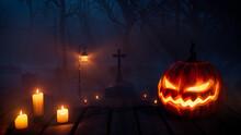 Halloween Scene With Spooky Moonlit Headstones And Jack O' Lantern.