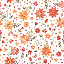 Embroidery Seamless Pattern With Bright Flowers In Folk Style. Vector Illustration.