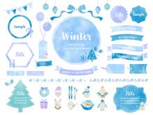 冬色の水彩風イラストとフレームのセット /   飾り, 自然, クリスマス, サンタクロース